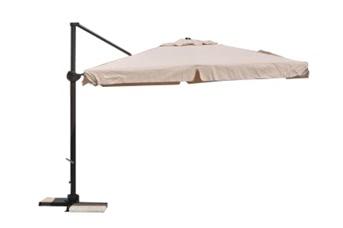 Parasol déporté carré 3x3 Ecru avec bandeaux flottants et pied aluminium