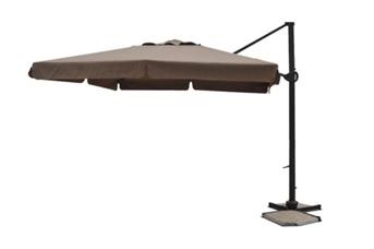 Parasol déporté carré 3x3 Moka avec bandeaux flottants et pied aluminium
