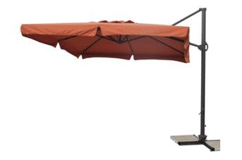 Parasol déporté carré 3x3 Orange avec bandeaux flottants et pied aluminium