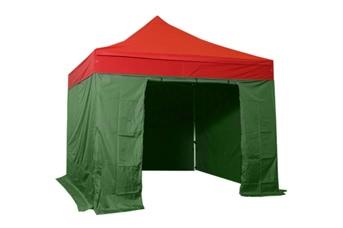 Tente pliante 3x3m pack complet bicolore Rouge/Vert structure Alu 40mm bâche polyester pelliculé PVC 300g/m²