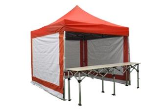 Stand pliant 3x3m pack complet structure Alu 40mm bâche polyester pelliculé PVC 300g/m² + 1 comptoir pliant 3m