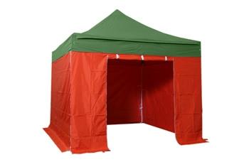 Tente pliante 3x3m pack complet bicolore Vert/Rouge structure Alu 40mm bâche polyester pelliculé PVC 300g/m²