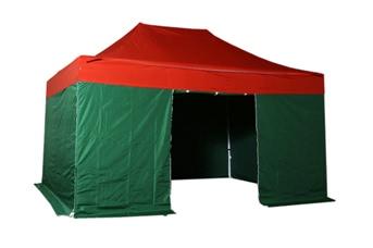 Tente pliante 3x4,5m pack complet bicolore Rouge/Vert structure Alu 40mm bâche polyester pelliculé PVC 300g/m²