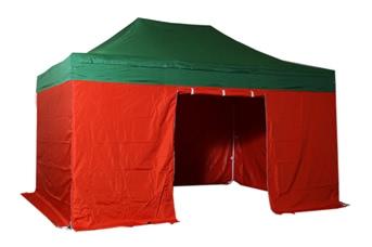 Tente pliante 3x4,5m pack complet bicolore Vert/Rouge structure Alu 40mm bâche polyester pelliculé PVC 300g/m²